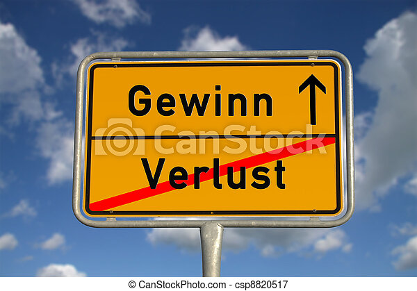German road sign deficit, and profit - csp8820517