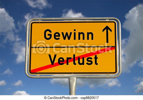 German road sign deficit, and profit  - csp8820517