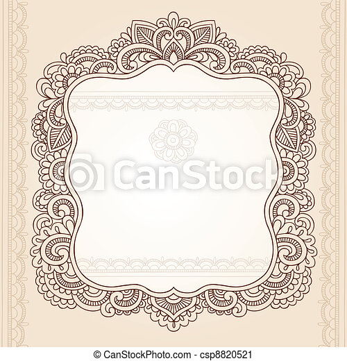 Henna Tattoo Paisley Doodle Frame - csp8820521