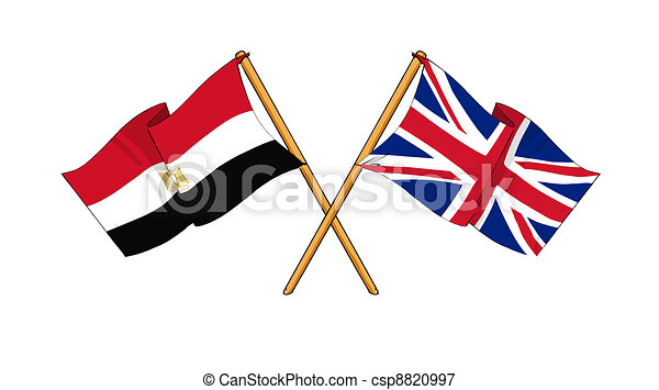 United Kingdom and Egypt alliance and friendship - csp8820997