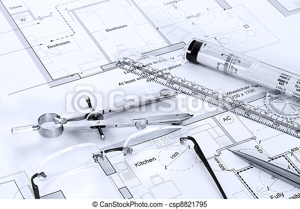Architectural plans with drawing equipment - csp8821795