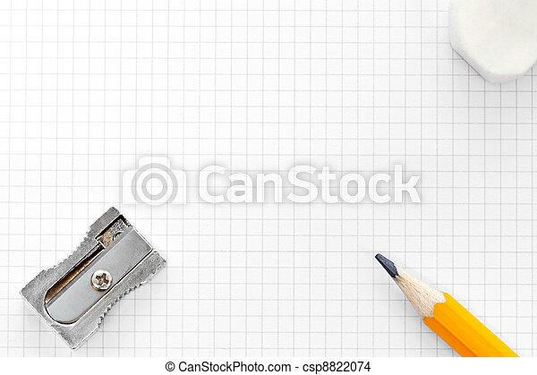 Blank squared graph paper eraser and sharpener - csp8822074