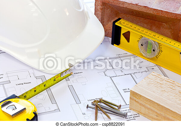 Building plans and tools still life - csp8822091