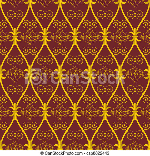 seamless abstract brown orient pattern - csp8822443
