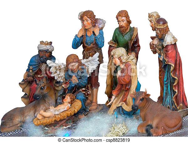 Decorative christmas scene with gospel statues - csp8823819