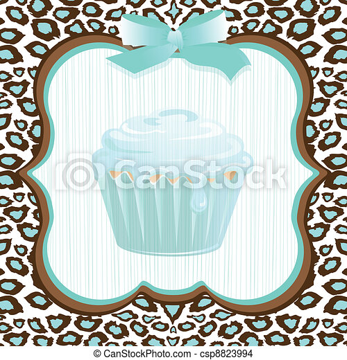 Aqua leopard print cupcake birthday - csp8823994