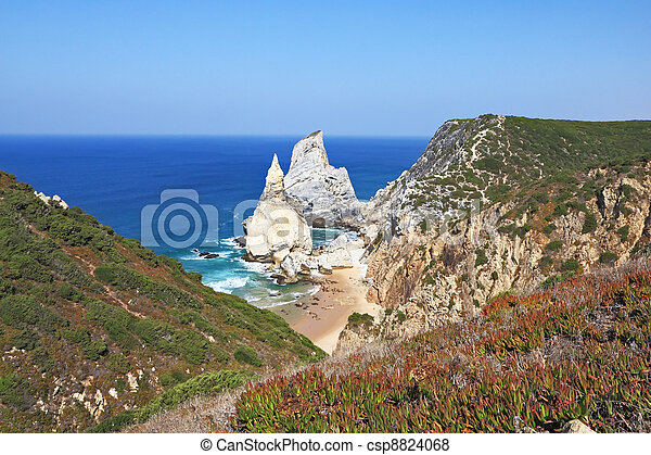 Cape Cabo da Roca. The rocks, similar to ice cream. - csp8824068