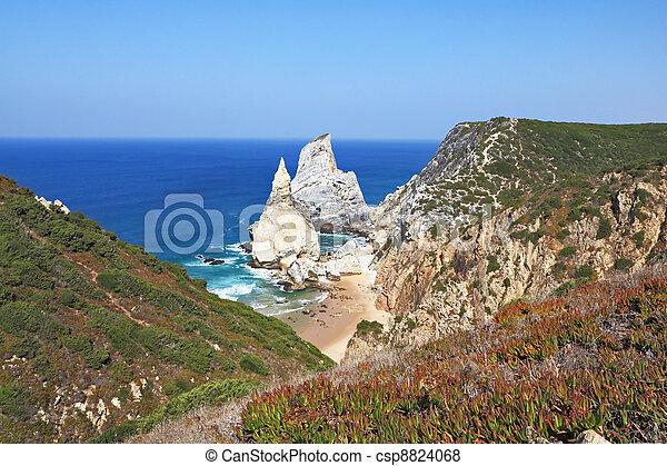 Cape Cabo da Roca. The rocks, similar to ice cream.  - csp8824068