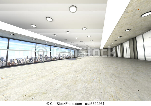 A empty office with the Skyline of Sao Paulo, Brazil, in the Background. Architectural visualisation. 3D rendered Illustration. - csp8824264