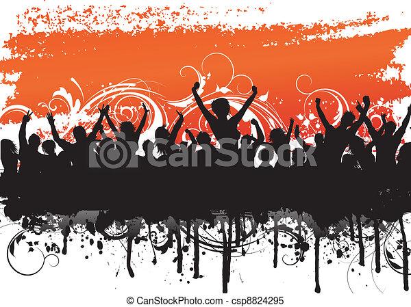Grunge crowd scene - csp8824295