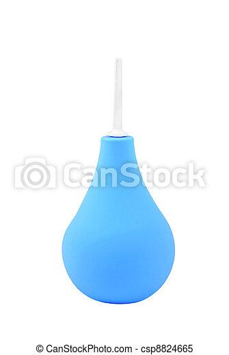 Blue enema syringe, isolated on white background - csp8824665