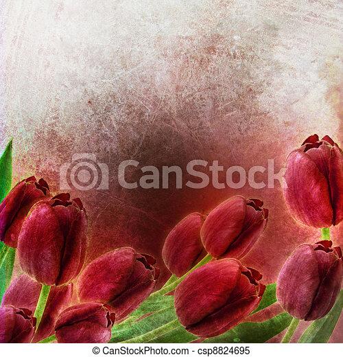 Tulips Spring border design  - csp8824695