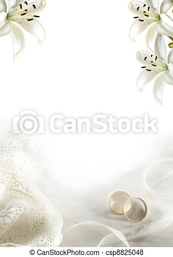 White wedding greeting blank with two gold rings or bands and lilies - csp8825048