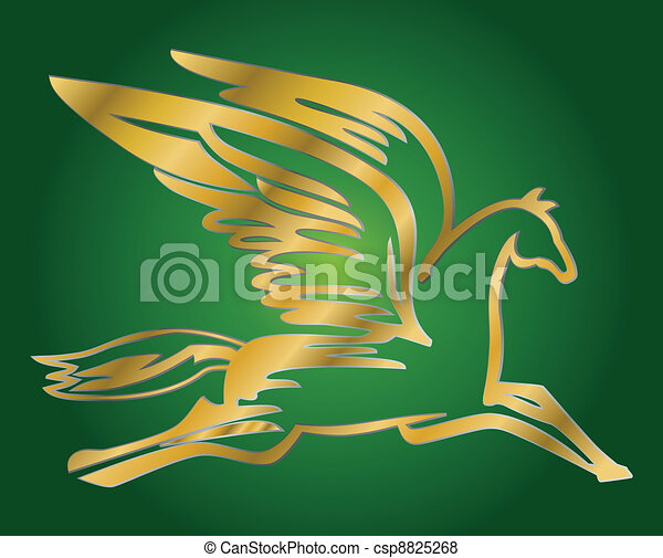 Vector of flying horse Pegasus - vector illustration of antique flying ...