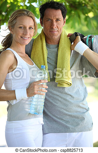 woman and man in sports clothes