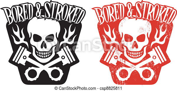Crossed Pistons Drawing Skull And Pistons Vector