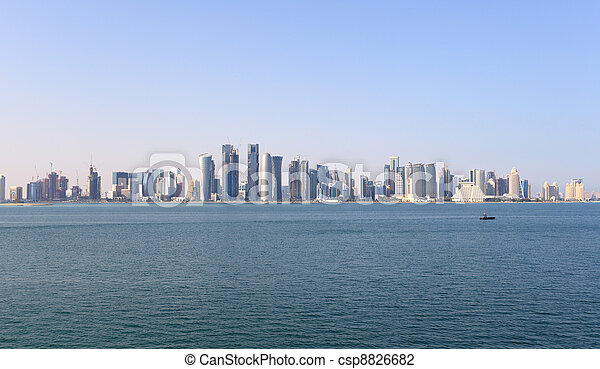 Skyline of the Doha downtown district Dafna. Qatar, Middle East - csp8826682