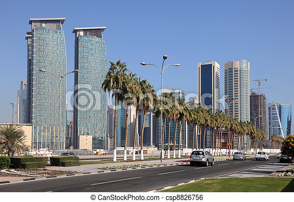 Street in Doha Downtown, Qatar, Middle East - csp8826756