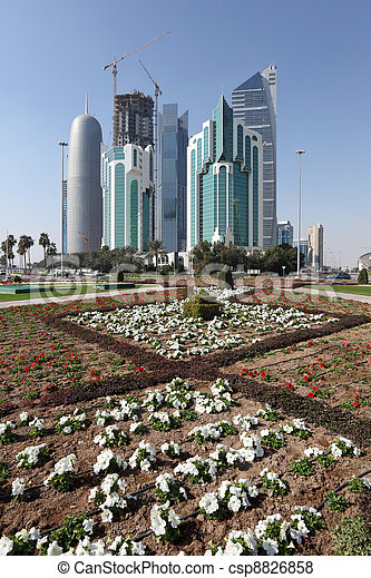New downtown district West Bay in Doha, Qatar - csp8826858