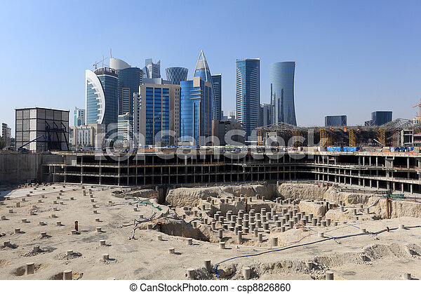Construction site in Doha downtown, Qatar - csp8826860