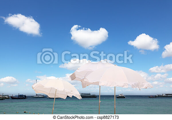 The white parasols on the sea breeze - csp8827173