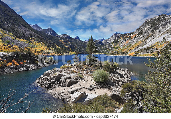Azure lake in the autumn mountains - csp8827474