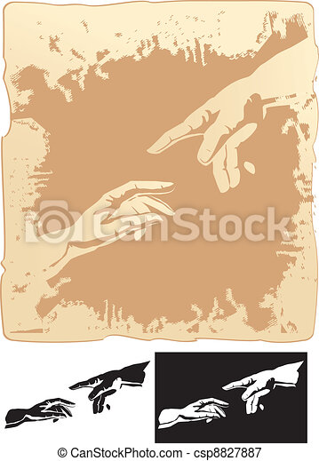 hands stylized for michelangelo - csp8827887