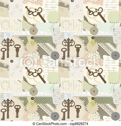 vector seamless pattern with scrapbook design elements: vintage key, torn pieces of paper, splashes of coffee, napkins - csp8828274