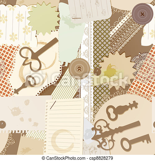 vector seamless pattern with scrapbook design elements: vintage key, torn pieces of paper, splashes of coffee, napkins - csp8828279