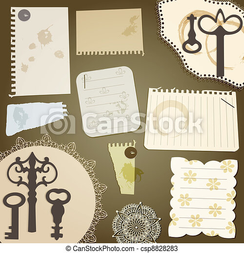 vector scrapbook design elements: vintage key, torn pices of paper, splashes of coffee, napkins - csp8828283