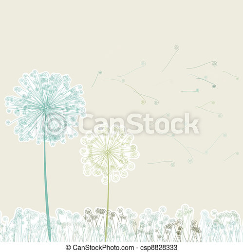 Vintage two dandelions in wind on light. EPS 8 - csp8828333