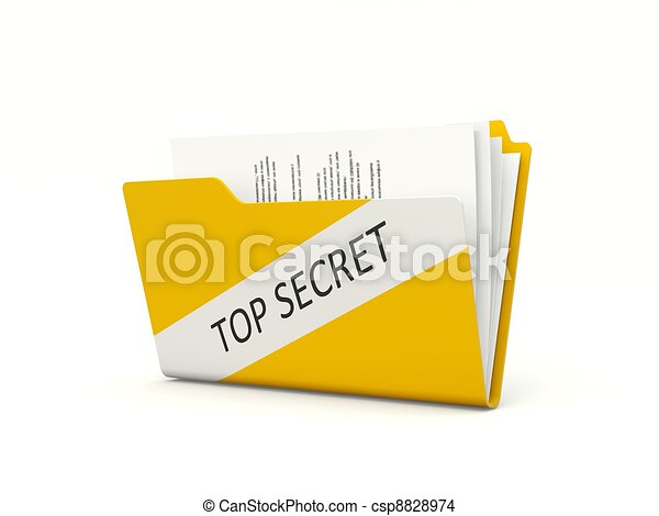 Top secret folder isolated on white - csp8828974