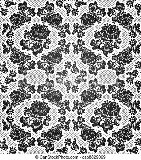 Lace background, ornamental flowers - csp8829069