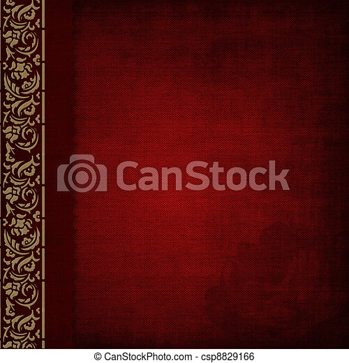 Photo album -red cover with gold ornate - csp8829166