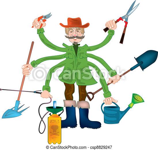Illustrations vectoris es de papy jardinier gardener - Dessin jardinier humoristique ...