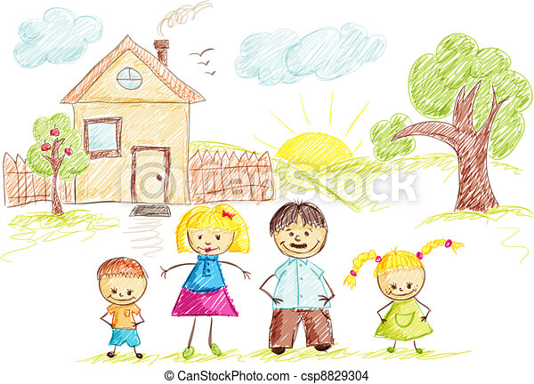 Family and House sketch color - csp8829304