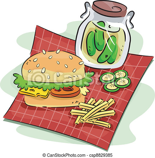 Hamburger and Pickle - csp8829385
