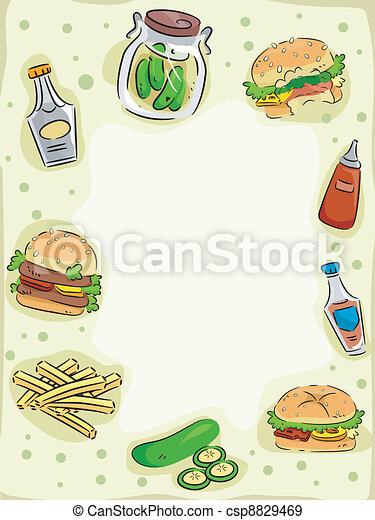 Hamburger and Pickle Frame - csp8829469