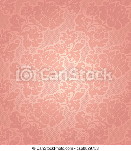 Lace background, ornamental beige flowers wallpaper - csp8829753