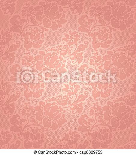 Lace background, ornamental beige flowers wallpaper - csp8829753