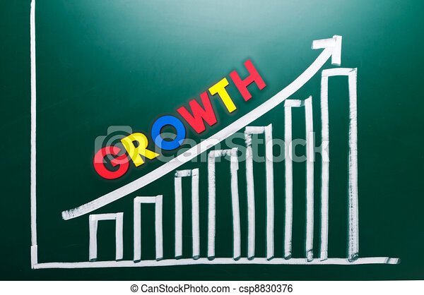 Growth concept with words and drawing chart  - csp8830376