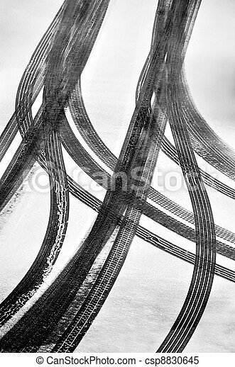 Tracks of car tires - csp8830645