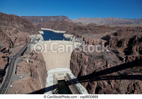 Hoover Dam on Colorado river and Lake Meade Arizona - csp8830869