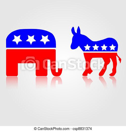 Democratic and Republican Political Symbols - csp8831374