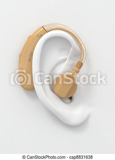 Hearing aid on ear. 3d - csp8831638