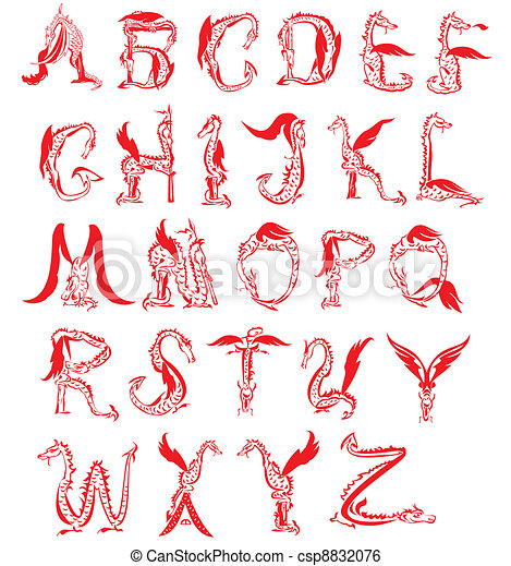 dragon alphabet, fantasy dragon font - csp8832076