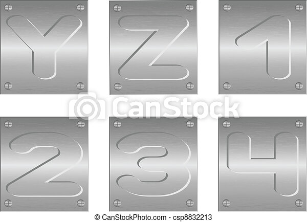 embossed letters and figures - csp8832213