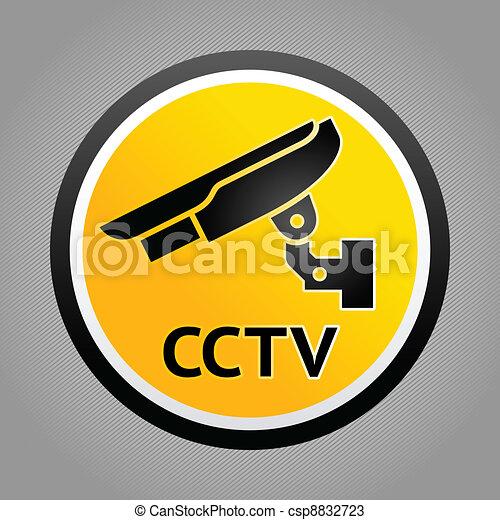 Surveillance camera warning symbols - csp8832723