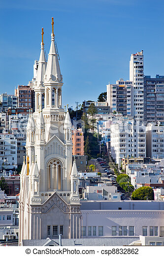Saint Peter and Paul Catholic Church Steeples San Francisco California 