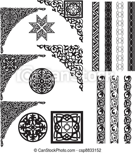 Arabic ornament corners and divider - csp8833152
